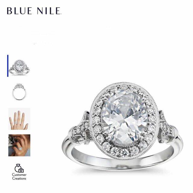 Fleur de Lis Halo Vintage Style Engagement Ring.