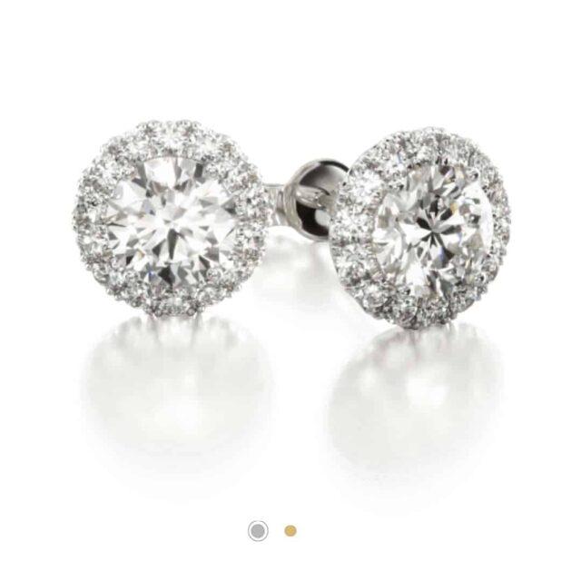 Halo Set Diamond Stud Earrings from James Allen.