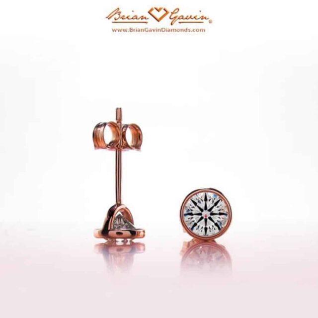 Handmade Rose Gold Bezel Diamond Studs by Brian Gavin.