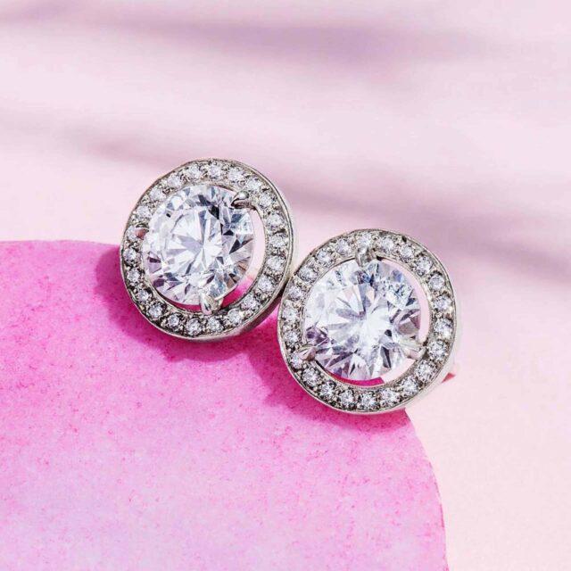 Halo Diamond Stud Earrings by James Allen.