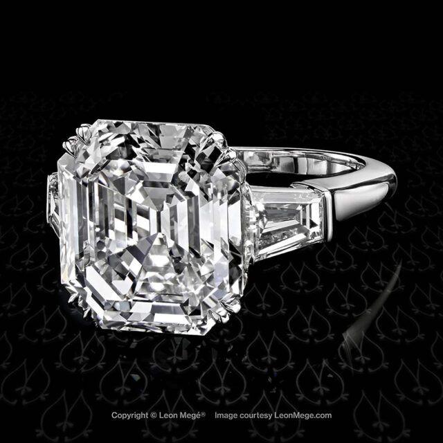 Leon Mege Art of Platinum Asscher Cut Diamond Ring.