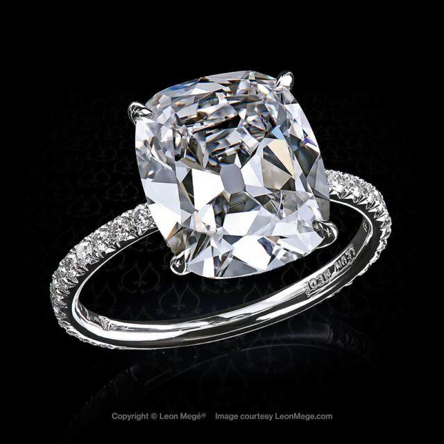 Leon Mege Art of Platinum Cushion Cut Diamond Ring.
