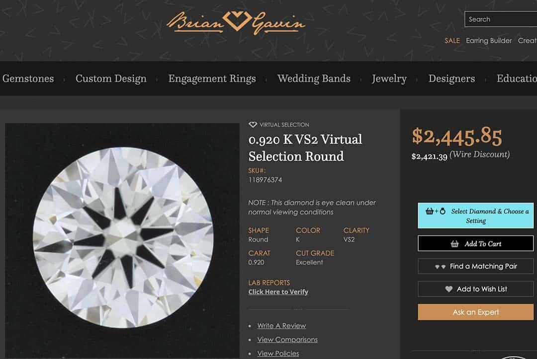 Brian Gavin Virtual Select Diamond, GIA #5353825355.