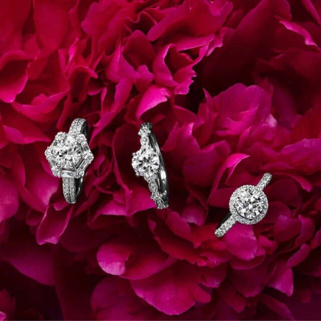 Monique Lhuillier Engagement Rings for Round Cut Diamonds.