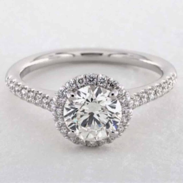 Pave Halo Setting by James Allen 1-carat Round Brilliant.