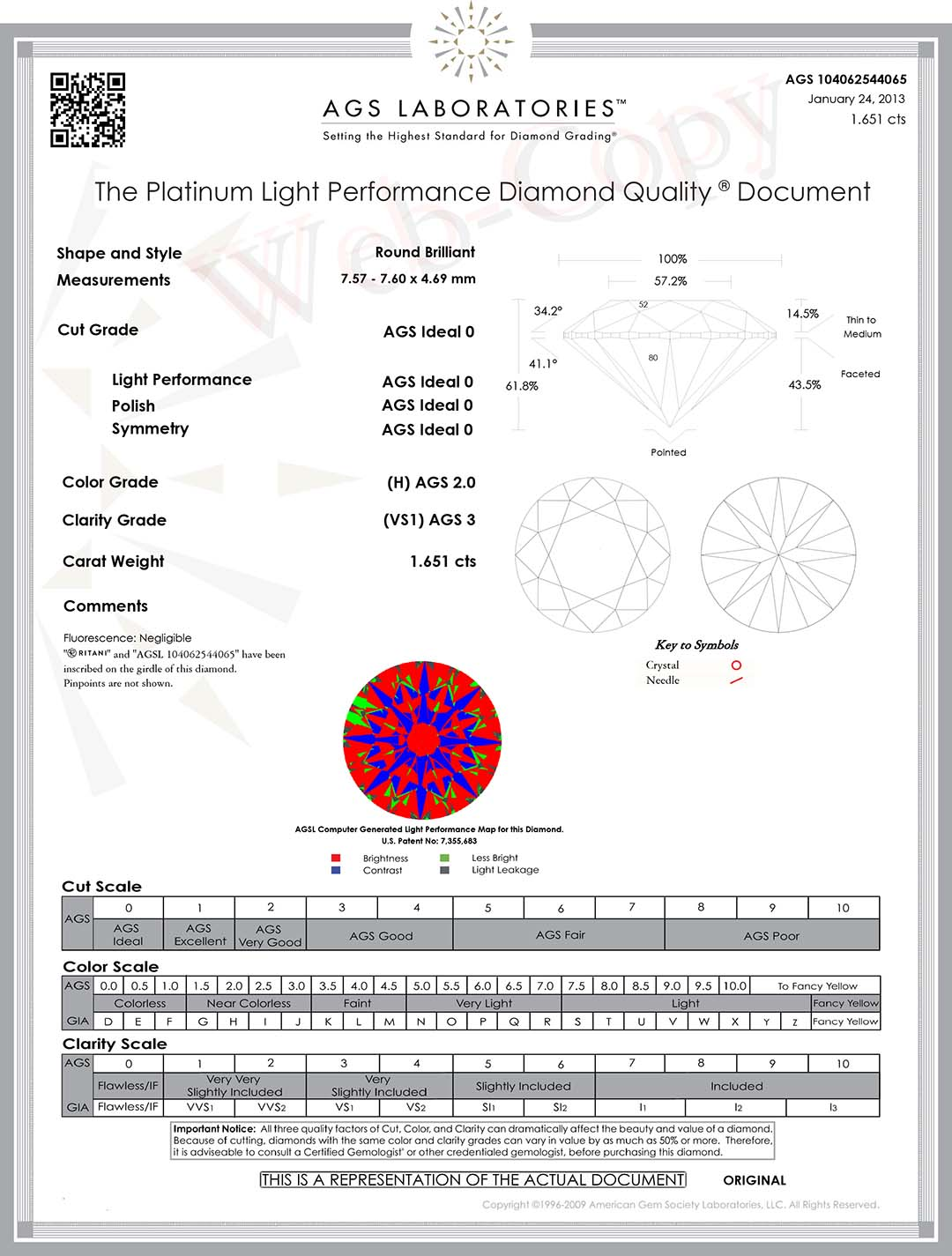 Ritani Diamond Reviews AGS Ideal 0 Cut ASET Map.