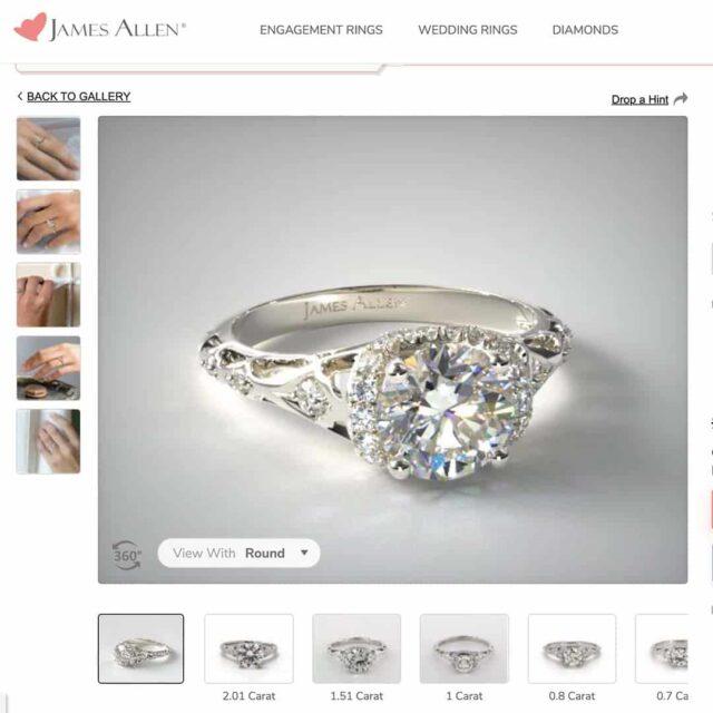 Vintage Filigree Engagement Ring by James Allen.