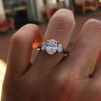 Blue Nile 3-Stone Gallery Oval Diamond Engagement Ring.