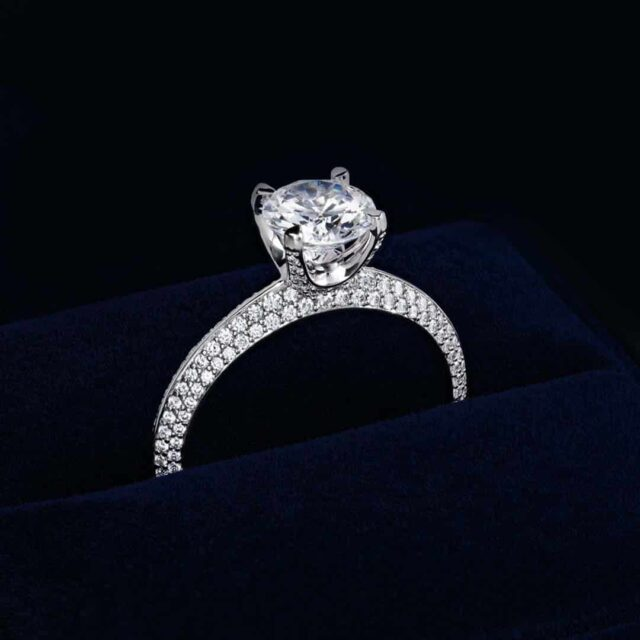 Blue Nile Gallery Collection Knife Edge Pave Setting.