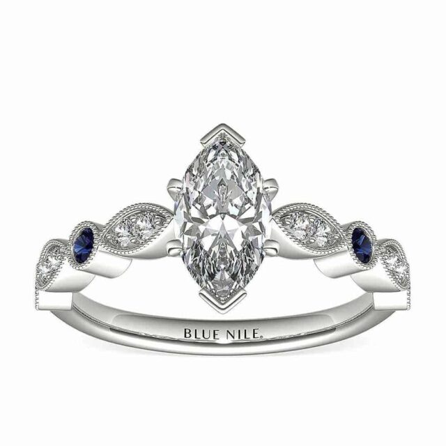 Blue Nile Vintage Style Ring Marquise Diamond Carat Weight.