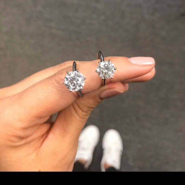 Ritani Diamond Carat Weight Examples 2 ct., 3 ct., Solitaires.