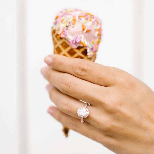 18k Rose Gold Halo Oval Diamond Engagement Ring James Allen.