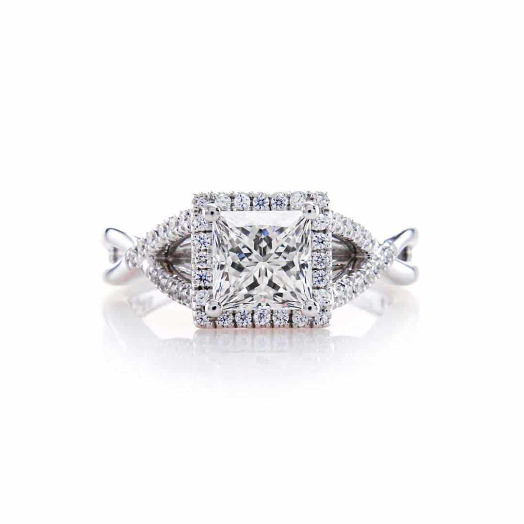 Custom Engagement Ring Brian Gavin Signature Princess Cut Diamond.