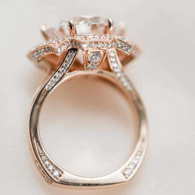 Brian Gavin Diamonds 810 Rose Gold Engagement Ring.
