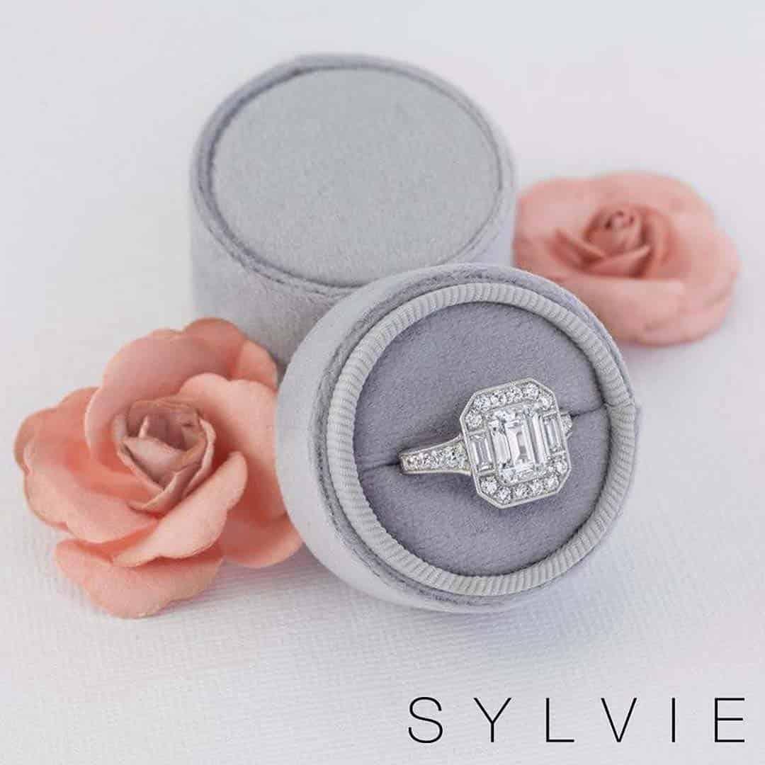 Sylvie Halo Setting Brian Gavin Signature Emerald Cut Diamond Ring.