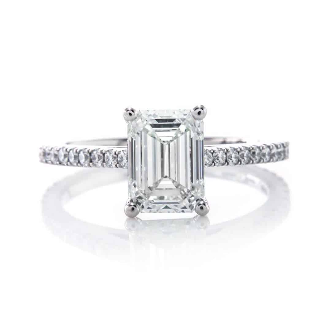 Brian Gavin Signature Emerald Cut Diamond Pave Engagement Ring.