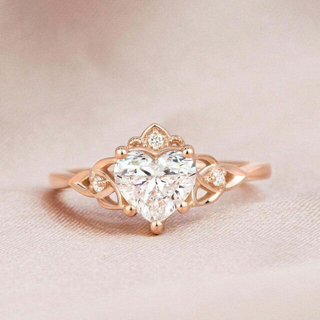 Celtic Knot Engagement Ring with Heart Shaped Brilliant Earth Diamond.