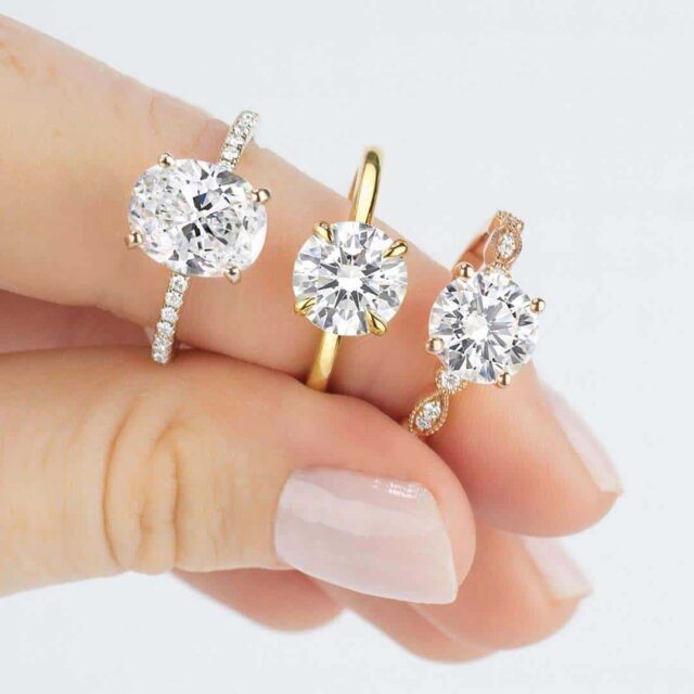 Oval and Round Brilliant Diamond Engagement Rings by Brilliant Earth.