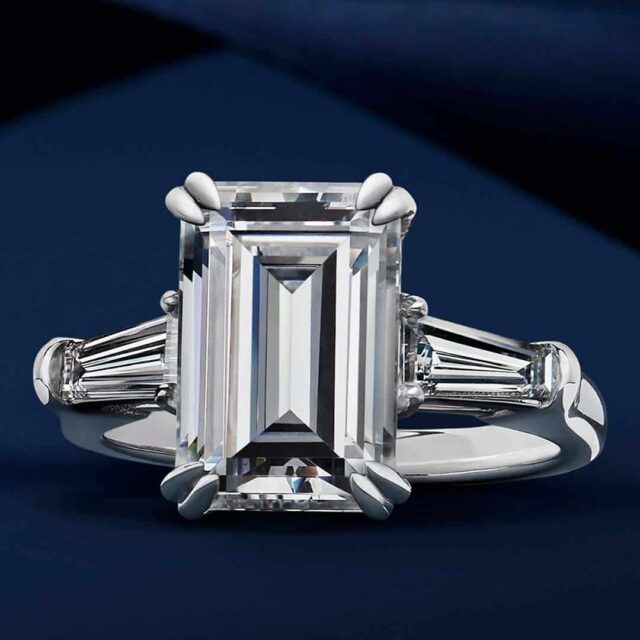 Emerald Cut Diamond 3-stone Ring by Blue Nile.