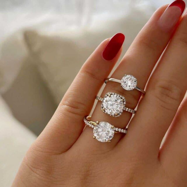Pick your favorite James Allen vs. Jared Engagement Ring Styles.
