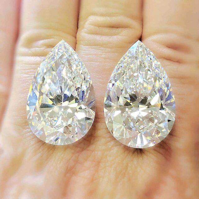 Rare by Brian Gavin 40-carat plus pear-shaped diamonds.