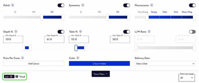 How to Set Advanced Filters Blue Nile Diamond Search.