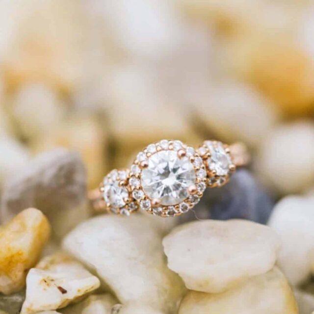 Ritani 3-stone Diamond Halo Engagement Ring.