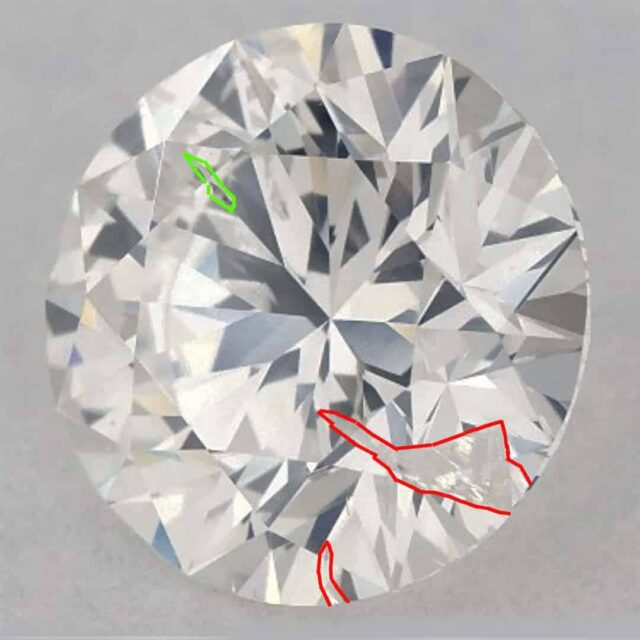 1-carat Diamond I1 Clarity James Allen Feathers Outlined.
