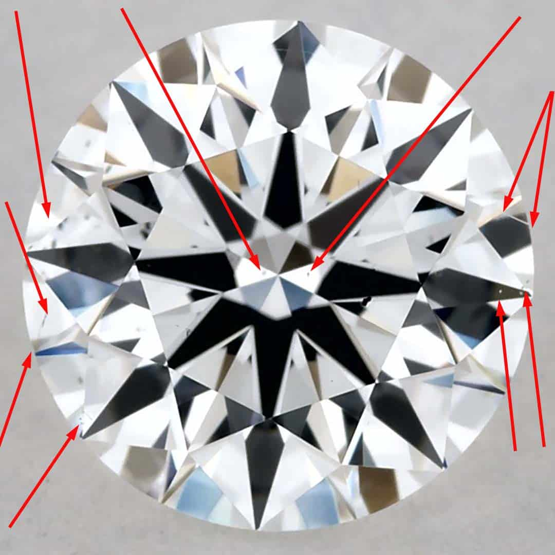 Example of James Allen True Hearts Diamond SI1 Clarity Grade.