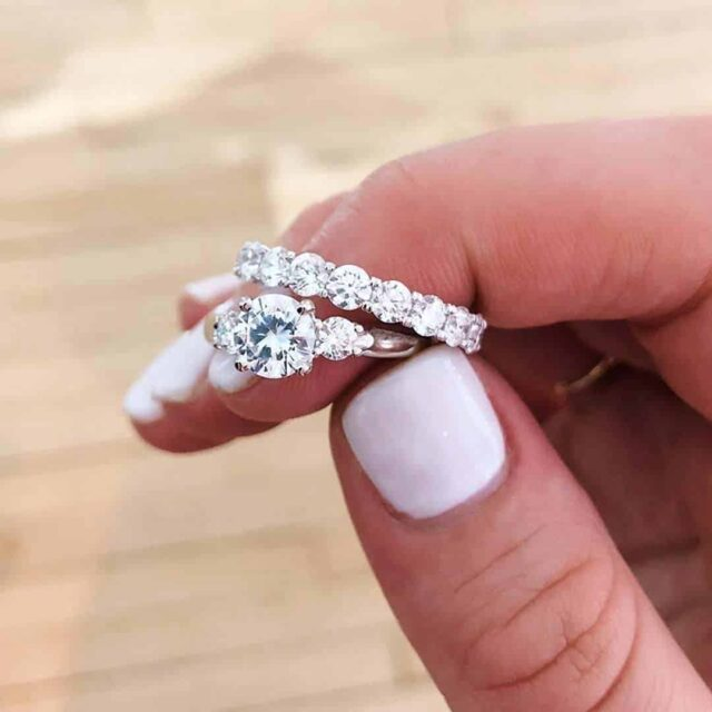3-stone engagement ring by Blue Nile.