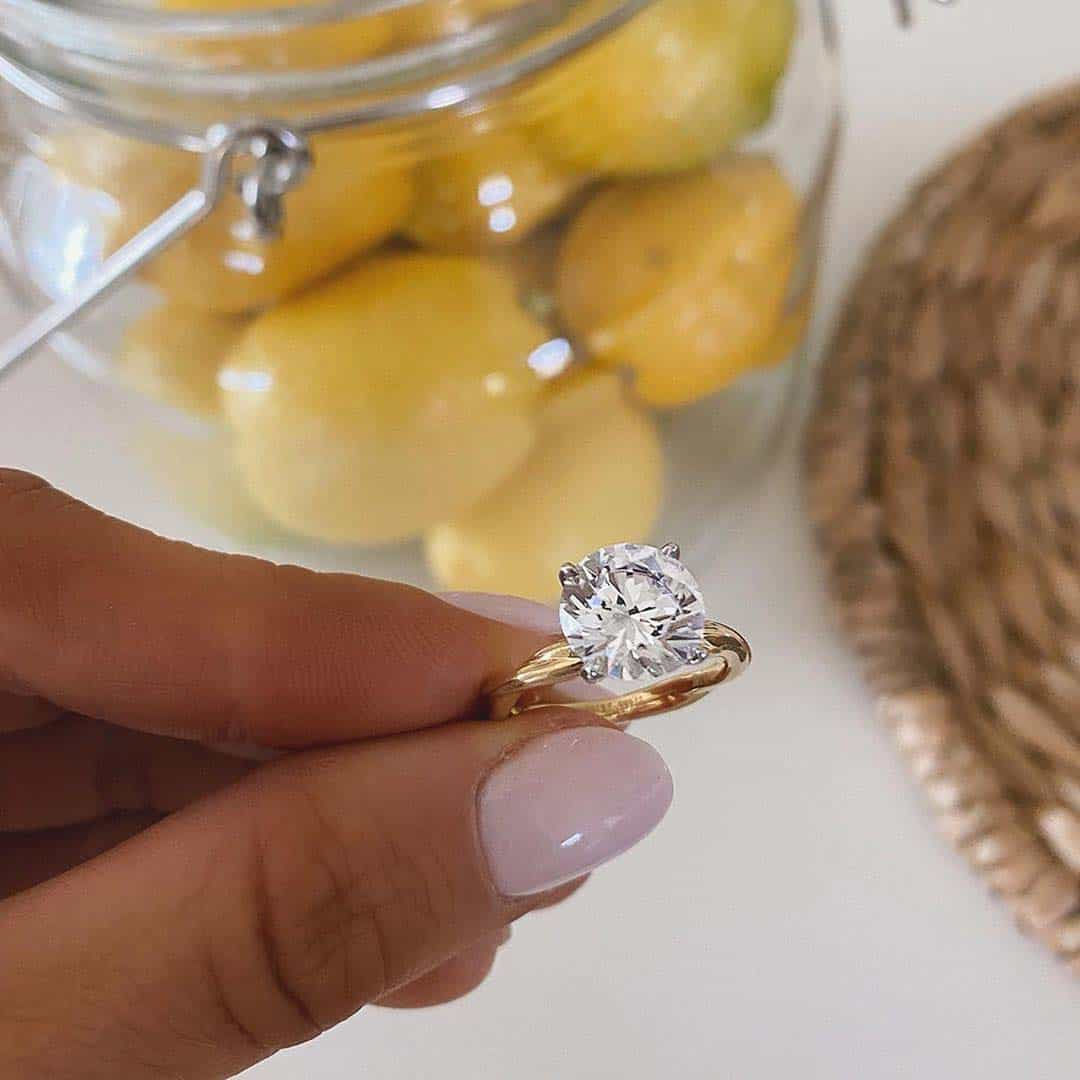 James Allen 18k Yellow Gold Rope Solitaire Engagement Ring.