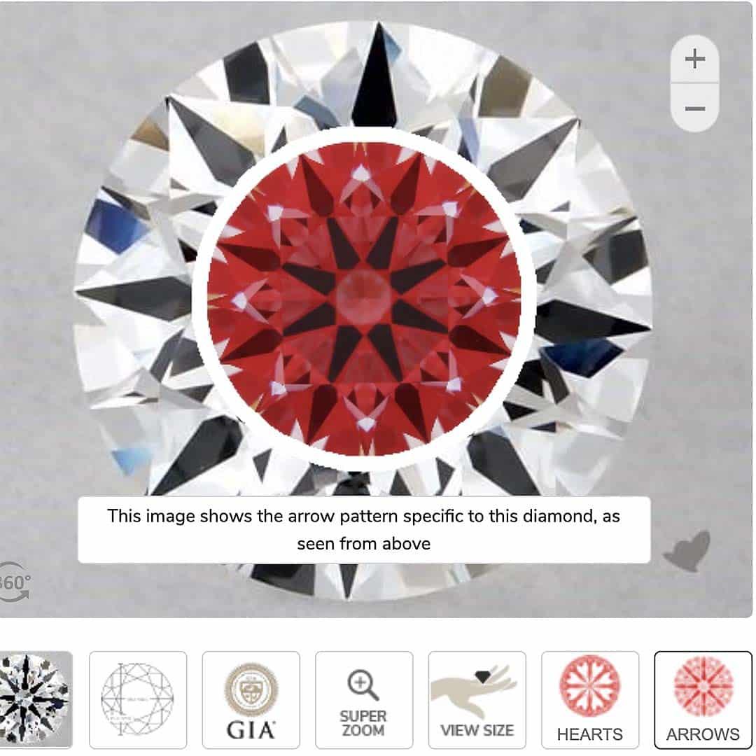 1-carat VS1 clarity, James Allen True Hearts diamond.