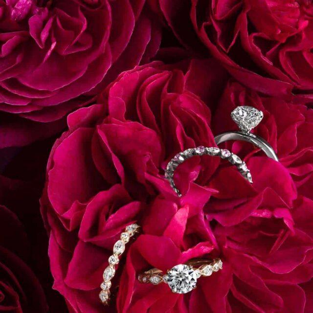 Monique Lhuillier Blue NIle Diamond Engagement Rings