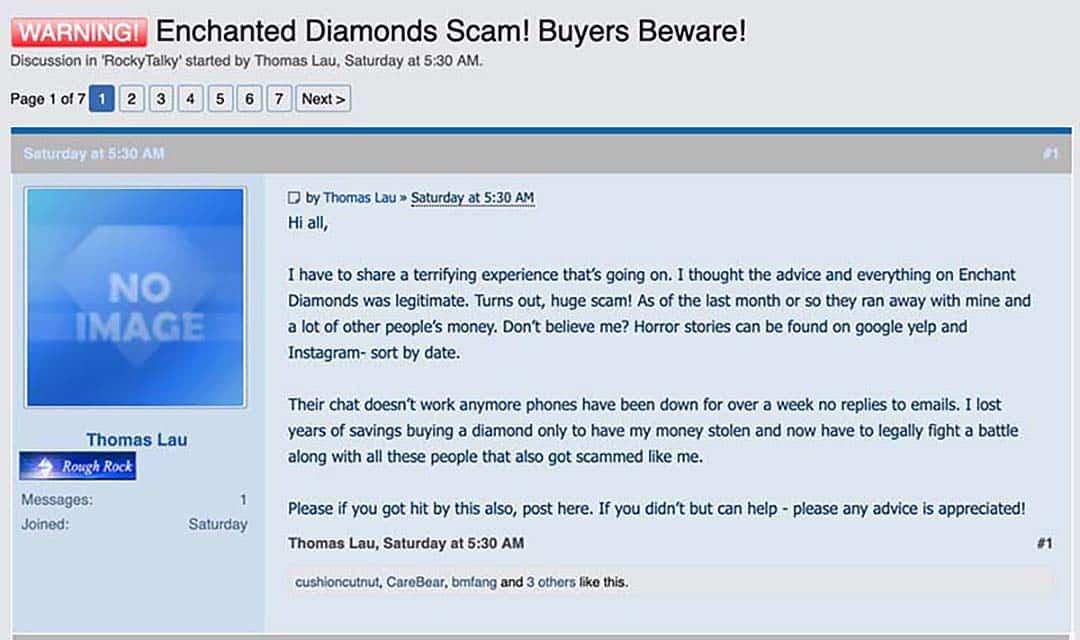 Enchanted Diamonds Warning on Pricescope