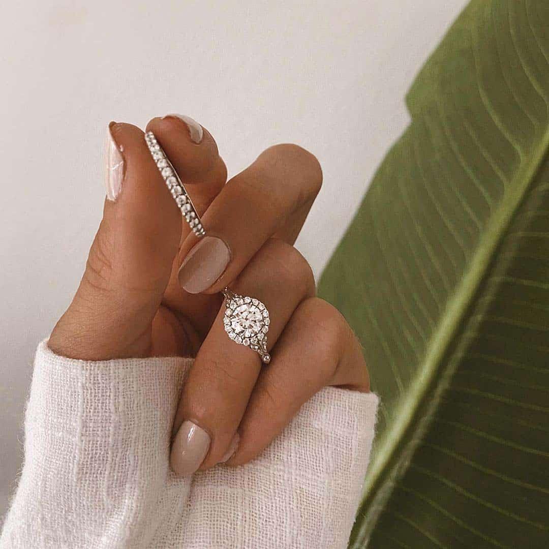 James Allen Navette Leaf Halo Engagement Ring.