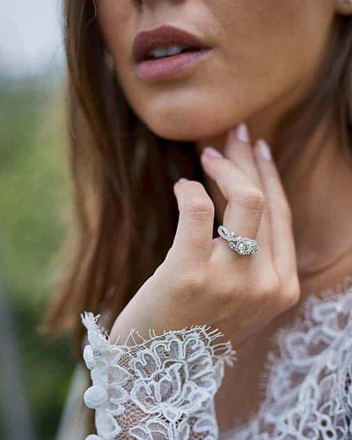 Monique Lhuillier Floral Halo Diamond Engagement Ring from Blue Nile.