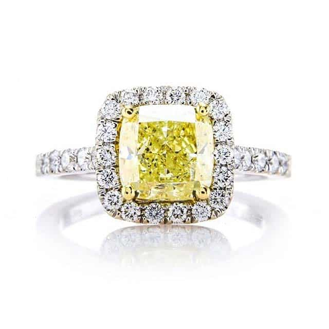Fancy Color Halo Diamond Engagement Ring by Brian Gavin.