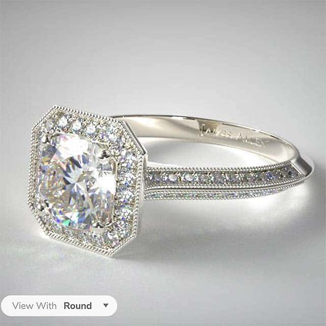 James Allen True Hearts Diamond Octagon Halo Engagement Ring.