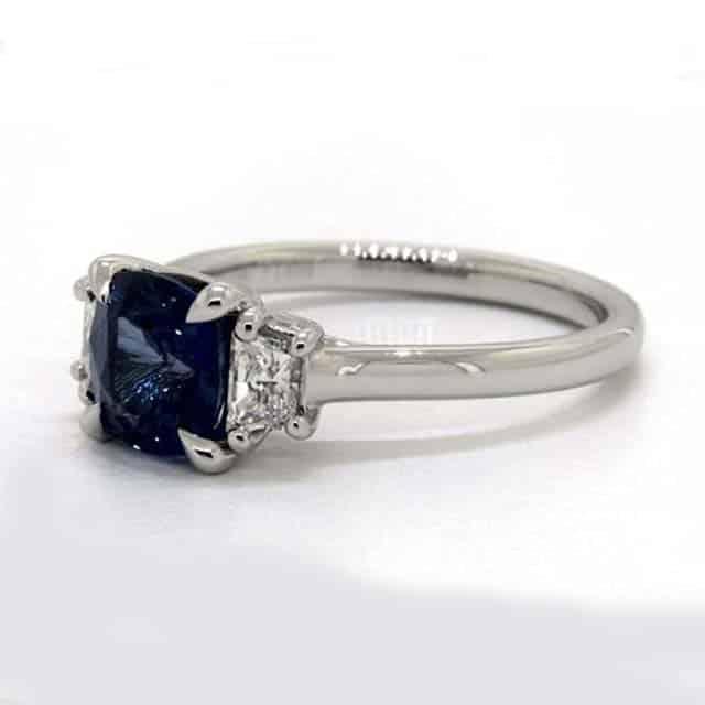 Trapezoid diamond trellis three stone ring from James Allen.