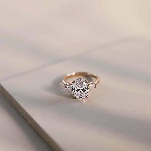 Oval Diamond Three Stone Ring by James Allen.