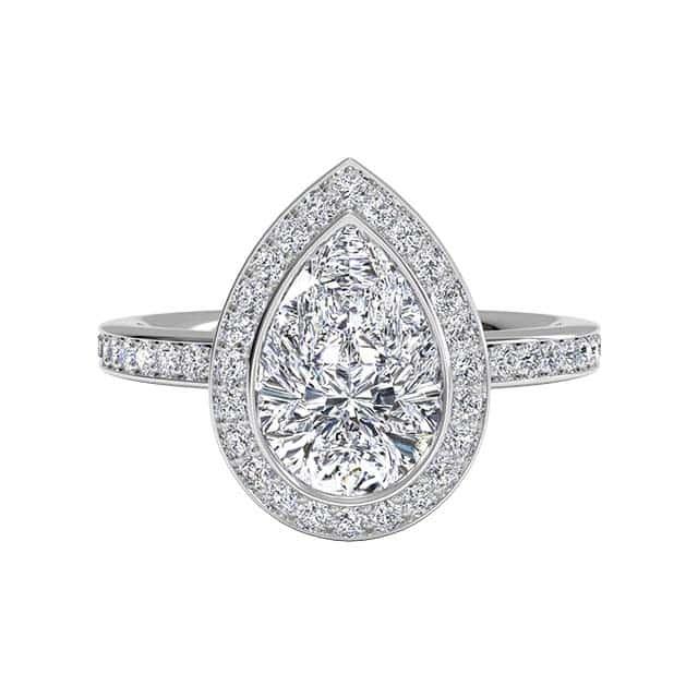 Pear Vintage Halo Ritani Engagement Rings.