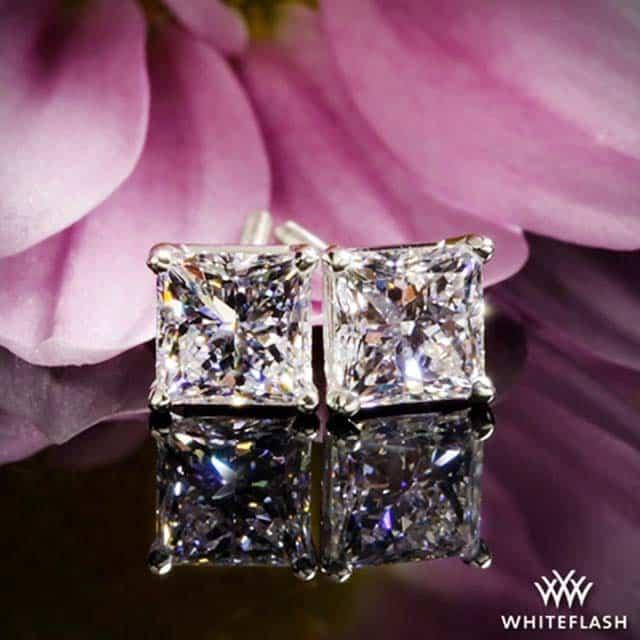 Princess Cut Diamond Stud Earrings by WhiteFlash.
