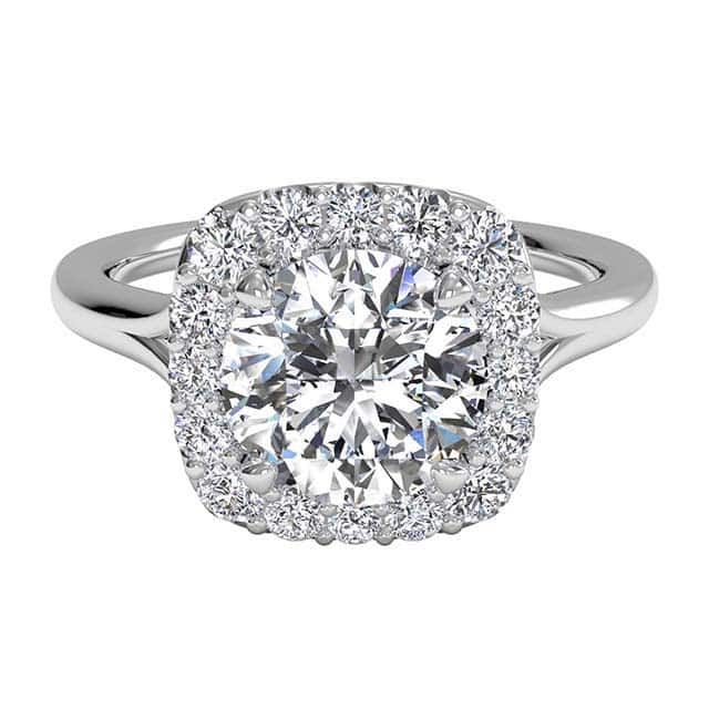 French Set Halo Ritani Engagement Ring.