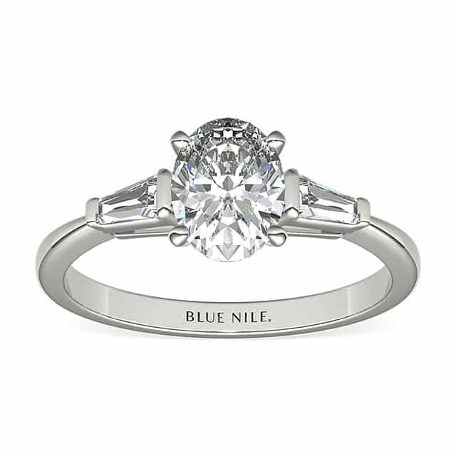 Classic Tapered Baguette Three Stone Setting from Blue Nile.