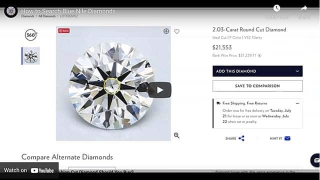 How to Search Blue Nile | YouTube Video by Nice Ice Diamonds.