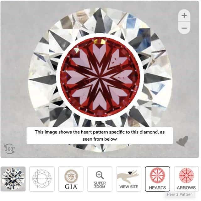 Hearts Pattern for James Allen True Hearts Diamond.