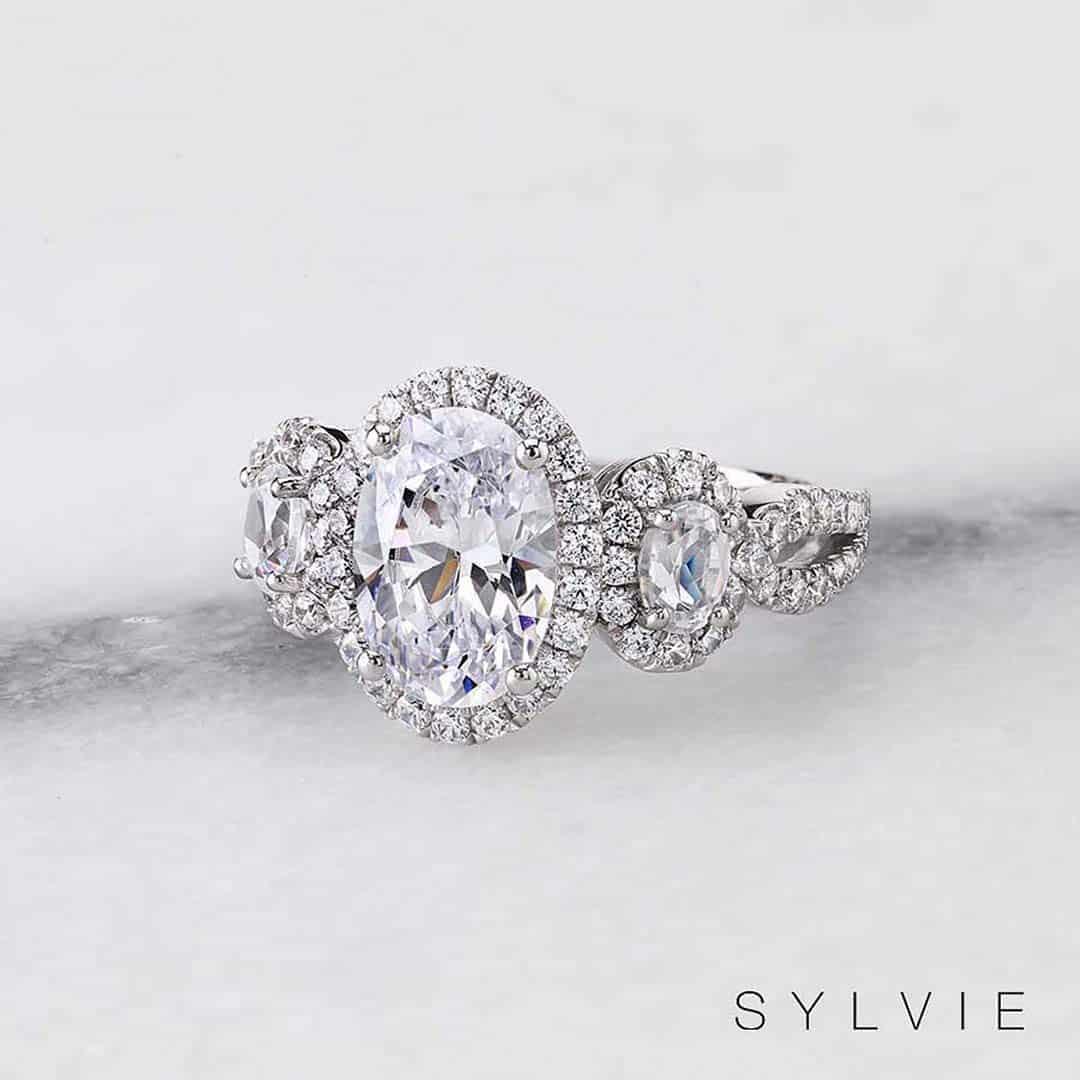 Sylvie Oval Three Stone Diamond Engagement Ring.