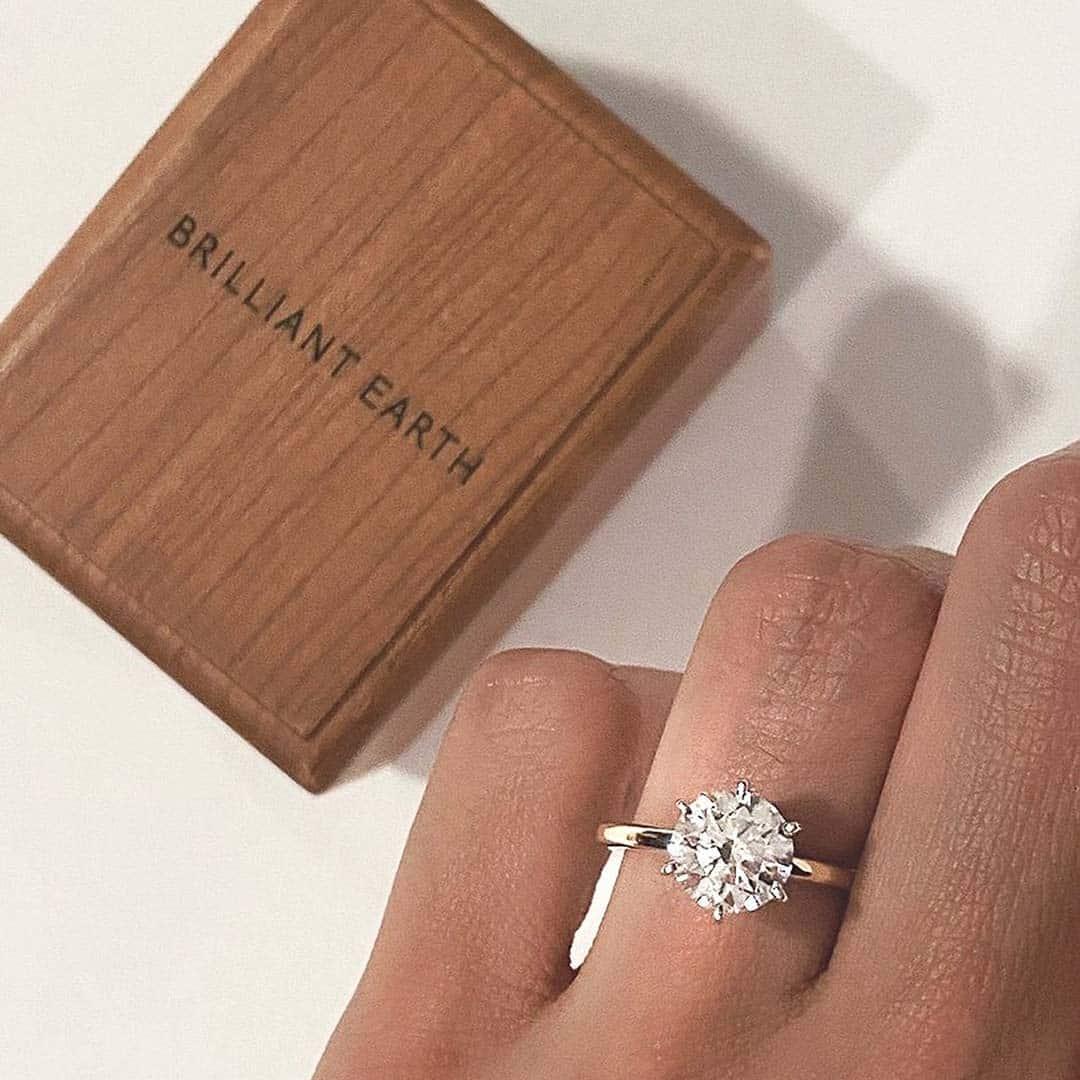 Brilliant Earth Lab Grown Diamond and Wood Ring Box.