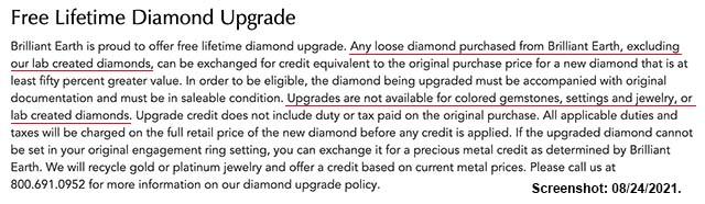 Brilliant Earth Diamonds Lifetime Upgrade Policy.
